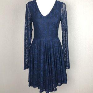 Altar'd State Blue Contemporary Floral Lace Dress